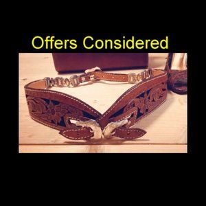 Vintage Hand Tooled Contour leather belt
